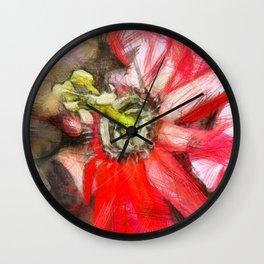 Popy variation 6th - pencil Wall Clock