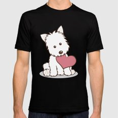 Westie Dog with Love Illustration Black 2X-LARGE Mens Fitted Tee