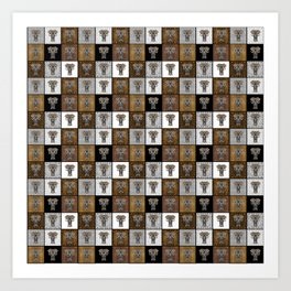Ganesha Checkerboard Pattern Art Print