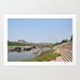 Indian River Tungabhadra in Hampi, State: Karnataka, India in March 2012 Art Print
