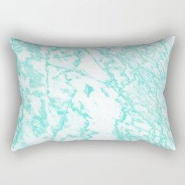 Modern abstract teal white marble pattern Rectangular Pillow