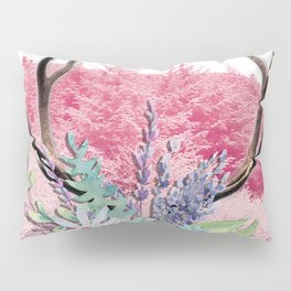 Floral stag antlers Pillow Sham