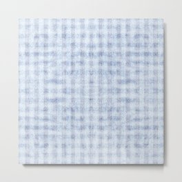 Pale Foam Blue Gingham Faux Suede Design Metal Print