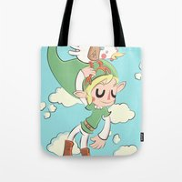 hyrule Tote Bags featuring HYRULE FLYGHT CLUB  by Cake Store