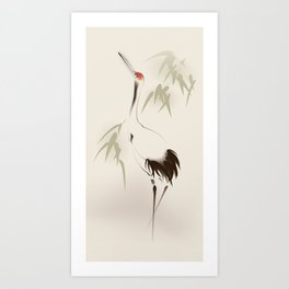 Oriental Red-Crowned Crane 001 Art Print