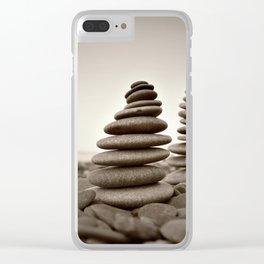 Stone pyramid symbolizing zen, harmony, balance. Clear iPhone Case