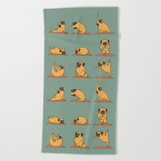 Pug Yoga Beach Towel