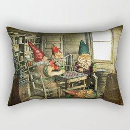 Garden Gnomes Playing Checkers Rectangular Pillow