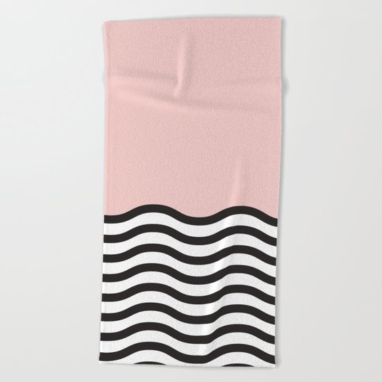 Waves of Pink Beach Towel