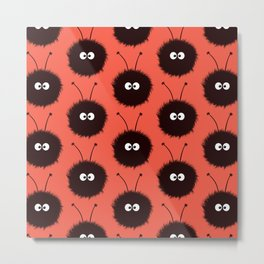 Red Cute Dazzled Bugs Pattern Metal Print