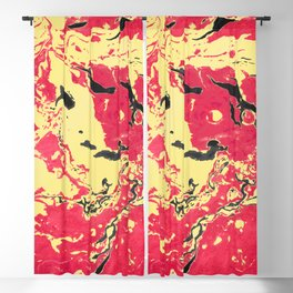 Gold and red Marble aqrylic Liquid paint art Blackout Curtain