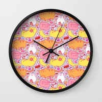 kit king Wall Clocks featuring Kit Kats by Diem Vu
