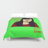 alcohol Duvet Covers featuring Parks April Thanks Alcohol by Kramcox