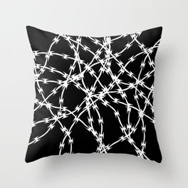 Trapped White on Black Throw Pillow