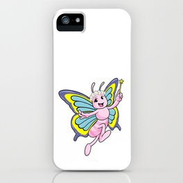 Butterfly with Magic wand and Wreath of Flowers iPhone Case