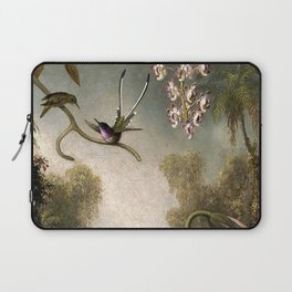Orchids and Spray Orchids with Hummingbird by Martin Johnson Heade Laptop Sleeve