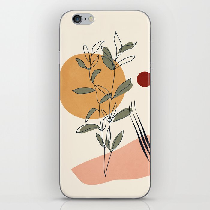 Minimal Line Young Leaves iPhone Skin
