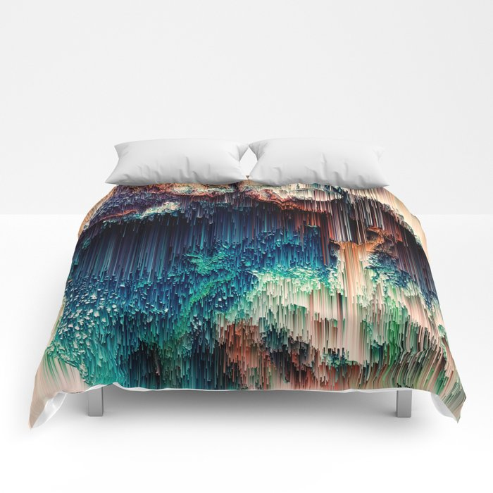 Cave of Wonders - Abstract Glitch Pixel Art Comforters