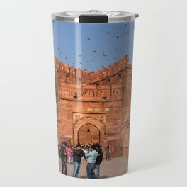 Agra Fort entrance with visitors and pigeons, India Travel Mug