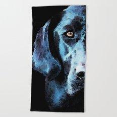 Hunter - Black Lab Art By Sharon Cummings Beach Towel