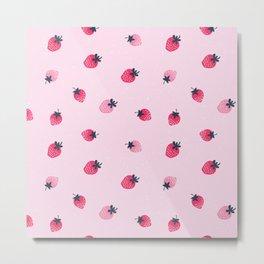 Lovely strawberry illustration pattern hand drawn on pink pastel background Metal Print
