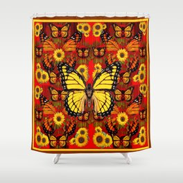COFFEE BROWN MONARCH BUTTERFLY SUNFLOWERS Shower Curtain
