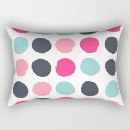 Polka dots painted abstract minimalist bright pink blue and navy dot pattern nursery Rectangular Pillow