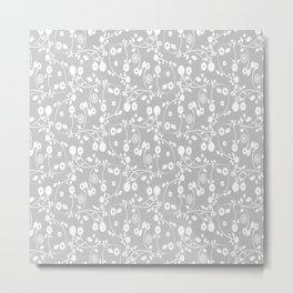 Silver Gray Floral Pattern Metal Print
