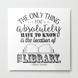 Location of the Library B&W Metal Print