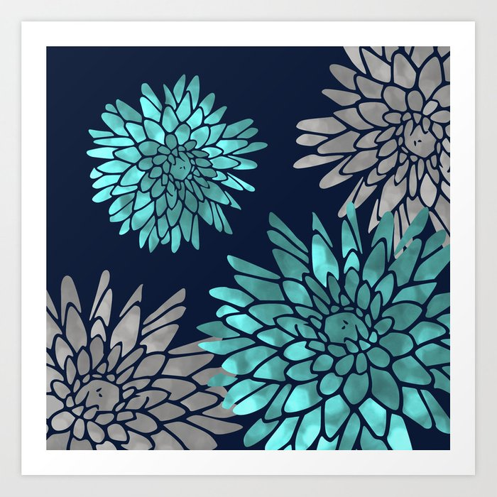 Floral Chrysanthemum Modern Navy Aqua Kunstdrucke