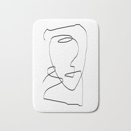 Abstract head, Minimalist Line Art Bath Mat
