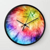 tie dye Wall Clocks featuring Tie Dye Watercolor by Phil Perkins