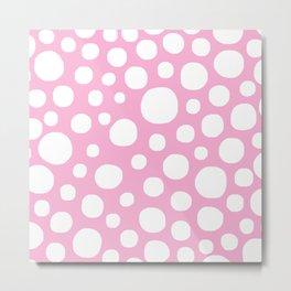 Pink Negative Dots w/ White Background Metal Print