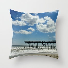 Silhouetted pier Throw Pillow
