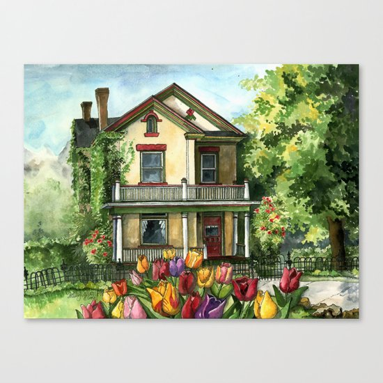 Farmhouse with Spring Tulips Canvas Print
