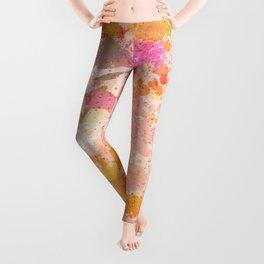 Abstract Paint Splatters Pink & Orange Leggings