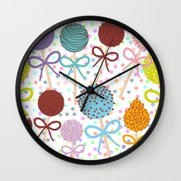 seamless pattern Colorful Sweet Cake pops set with bow on white polka dot background Wall Clock