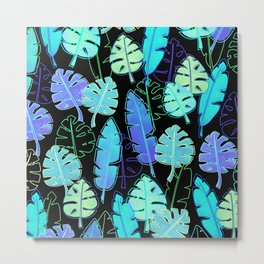 tropic leaves pattern (monstera and the bird of paradise) Metal Print