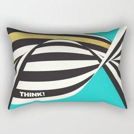 THINK! – Wavy Stripes on Luxury Blue Rectangular Pillow