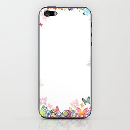 Floral frame with butterflies iPhone Skin