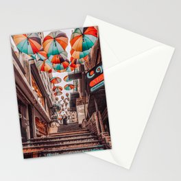 Rainbow Stairs & Colorful Umbrellas Stationery Cards