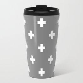 Swiss cross pattern on gray Travel Mug