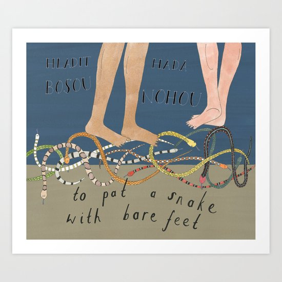 Patting Snakes Art Print