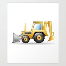 Yellow Excavating Tractor Icon Art Print
