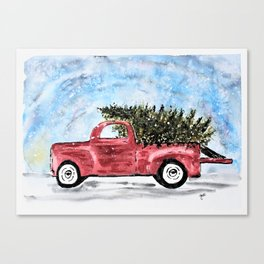 Vintage Red Christmas Truck with Tree Watercolor Canvas Print