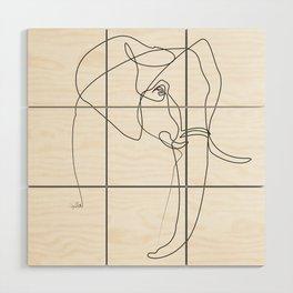 Elephant line Wood Wall Art