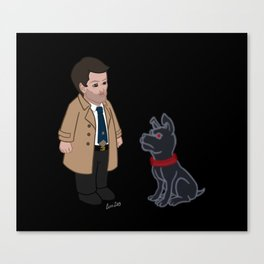 Castiel and Hell Hound (Black) Canvas Print