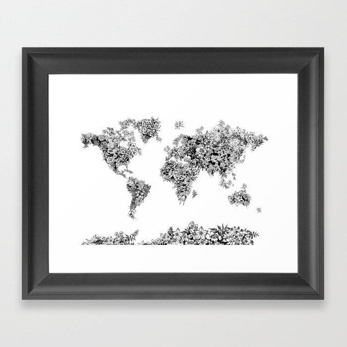 Floral world map black and white framed art print by bekimart society6 floral world map black and white framed art print gumiabroncs Gallery