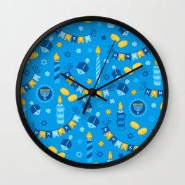 Happy Hanukkah Banner Pattern Wall Clock