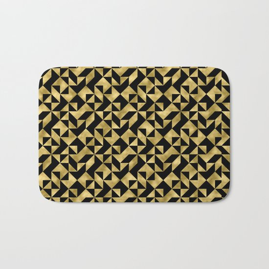 Black and gold geometric abstract pattern- Luxury design for your home Bath Mat
